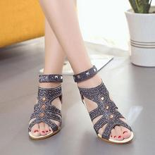 2017 Sandals Women Shoes Crystal PU Leather Slip-On Fish Mouth Wedges Ankle Strap Cover Heel Solid Summer Fashion Shoes 3 Colors(China)