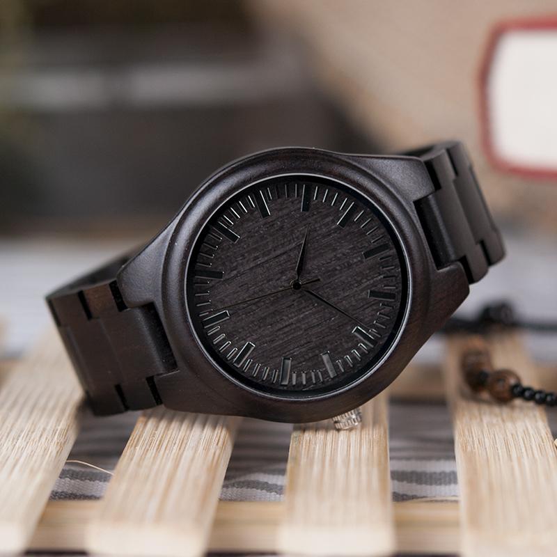 BOBO BIRD Mens Black Ebony Wooden Watches Wood Links Causal Quartz Wrist Watch in Gift Box custom logo 7