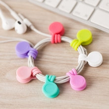 9PCS/lot Silicone Magnet Coil Earphone Cable Winder Type Bobbin Winder Hubs Cord Holder Cable Wire Organizer for iPhone xiaomi(China)