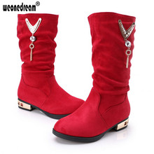 WEONEDREAM 2017 Winter New Children Boots Girls Leather Boots Korean Fashion High Children Princess Girls Shoes Size 26-37