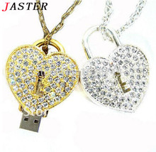 FGHGF crystal love Heart Lock Design Necklace Model usb flash drive 4GB 8GB 16GB 32GB usb 2.0 memory stick pendrive gift
