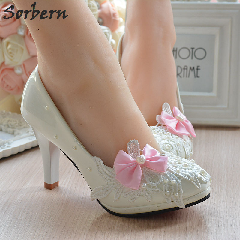 Sorbern Butterfly-Knot Patent Leather Women Pump Shoes Ladies Shoes Size 40 Heels 4.5Cm/8Cm High Heels Wedding Shoes