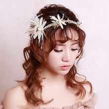 New Handmade Unique Sweet Bride Pearl Hair Accessory Female Flower Feather Butterfly Dragonfly Marriage Accessories Hairbands