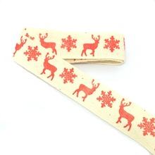 "Free shipping Wholesale 3/4""(20mmx50m) Zakka Handmade the cheapest 100% Cotton Ribbon Sewing tape Red deer and snow Lace & Rose(China)"