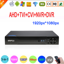 2MP Surveillance Camera Xmeye Hi3531A 16CH 16 Channel 5 in 1 Coaxial 1080P WIFI Hybrid NVR CVI TVI AHD CCTV DVR Free Shipping(China)