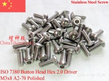 Stainless Steel screws M3x8  Button Head  ISO 7380 Hex Driver A2-70 Polished ROHS