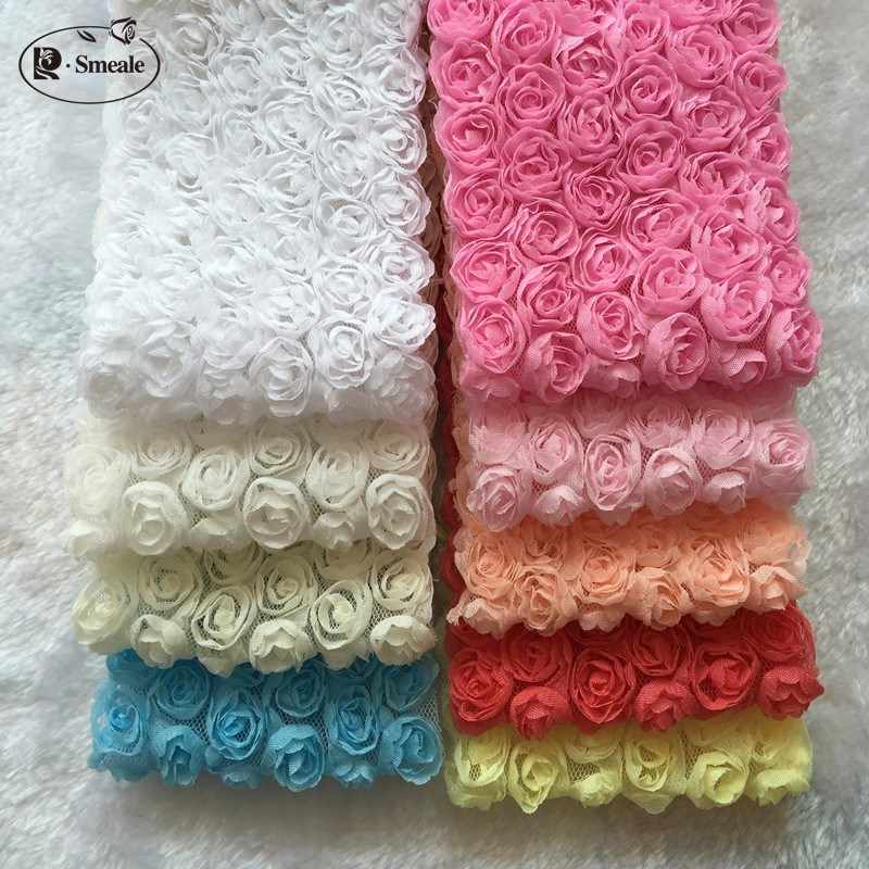 5Yd/lot  14 Color DIY Bowknot  Lace Fabric  6 Rows 3D Rose Lace Trim Phone Beauty Lace RS630