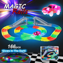 166PCS Twister Tracks Flexible Assembly Track Glow in the Darkness with Bridge Crossroad Track Race Car for Kids Christmas Gift