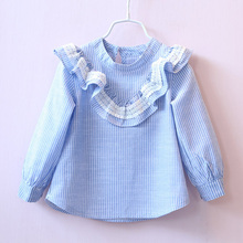Summer Blouse For Girls Lace Stripe Plaid Shirts Baby Party Top Toddler Girl Children Ruffle Shirts Kids School Uniform Clothes
