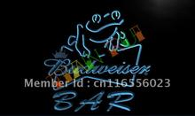 LA415- Budweiser Frog Bar Beer LED Neon Light Sign