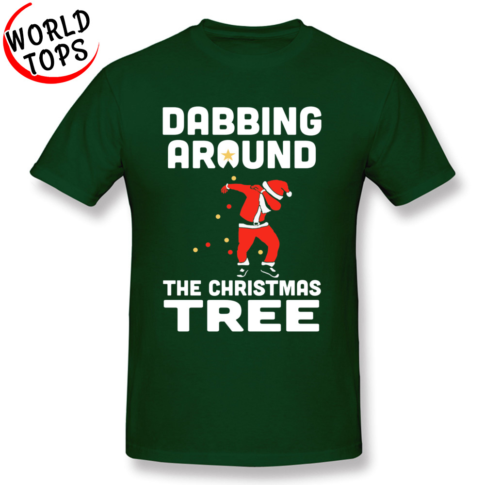 Tees Custom Summer/Autumn Latest Hip hop Short Sleeve 100% Cotton Fabric O-Neck Man T-shirts Hip hop Clothing Shirt Dabbing Around The Christmas Tree -1077 dark