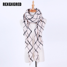 Hot Sale Winter Scarf For Women Cashmere Warm Plaid Pashmina Scarf Luxury Brand Blanket Wraps Female Scarves And Shawls(China)
