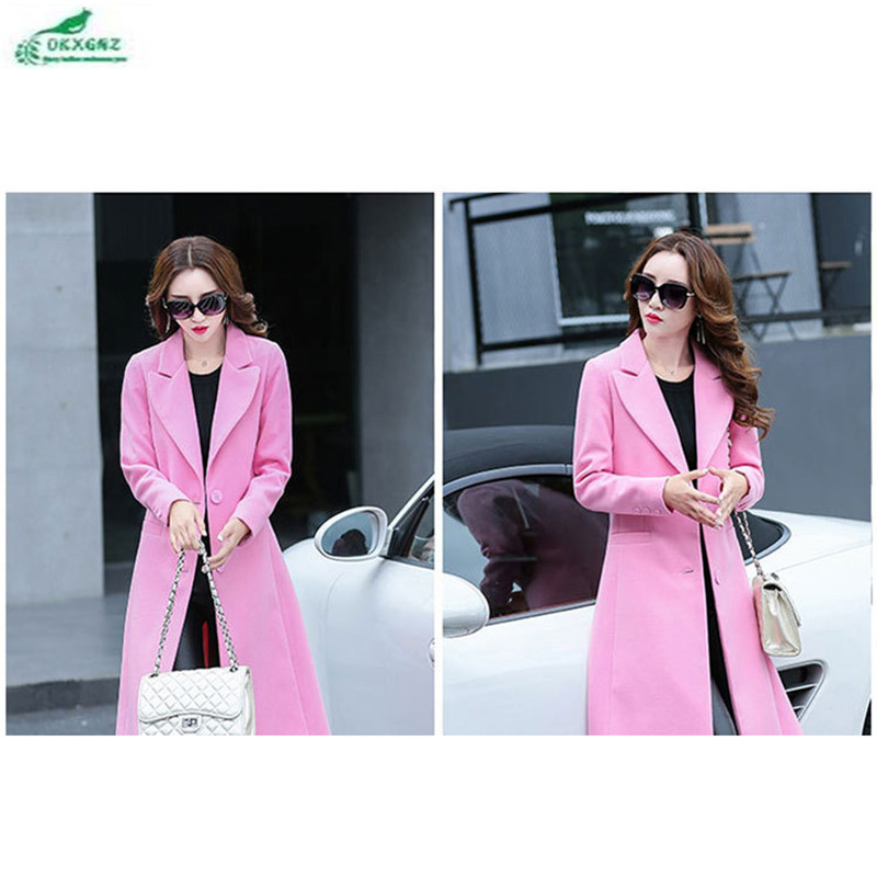 Aliexpress Com Okxgnz Korea 2017 New Winter Woolen Cloth Coat Medium Long Slim Fashion Women Elegant Lapel Big Yards A072 From