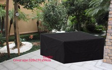 Free shipping 320x191x94cm Sectional sofa Cover ,Black color durable fabric,waterproofed/dust proofed outdoor furniture cover(China)