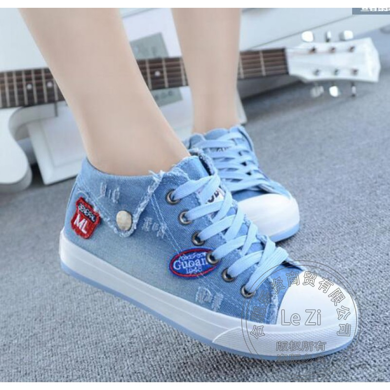 Sky Blue Thickness Bottom Jean Neutral Soft Leather Shoes Woman 2016 Women Brand Shoes Womens Shoes Stonewash Plain Personality<br><br>Aliexpress