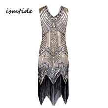 Great Gatsby Dress Women Sequined Dress V Neck Beaded Sequined Art Deco Flapper Dress 1920s Vintage Party Dresses Sexy Club()