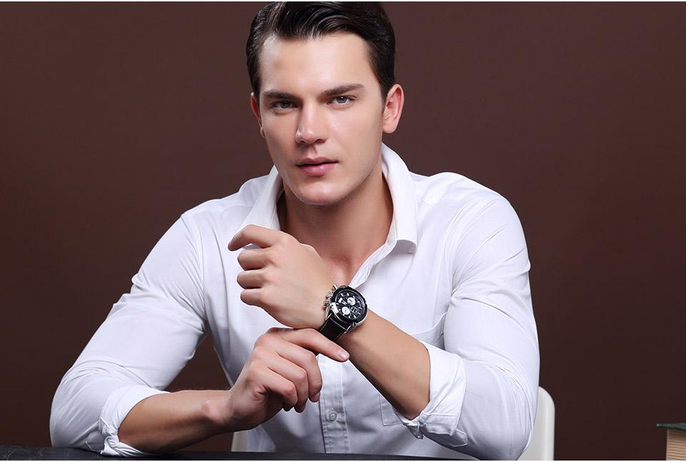 Baogela Mens Chronograph Luminous Hands Date Indicator Fashion Causal Leather Strap Sport Quartz Wrist Watches 8