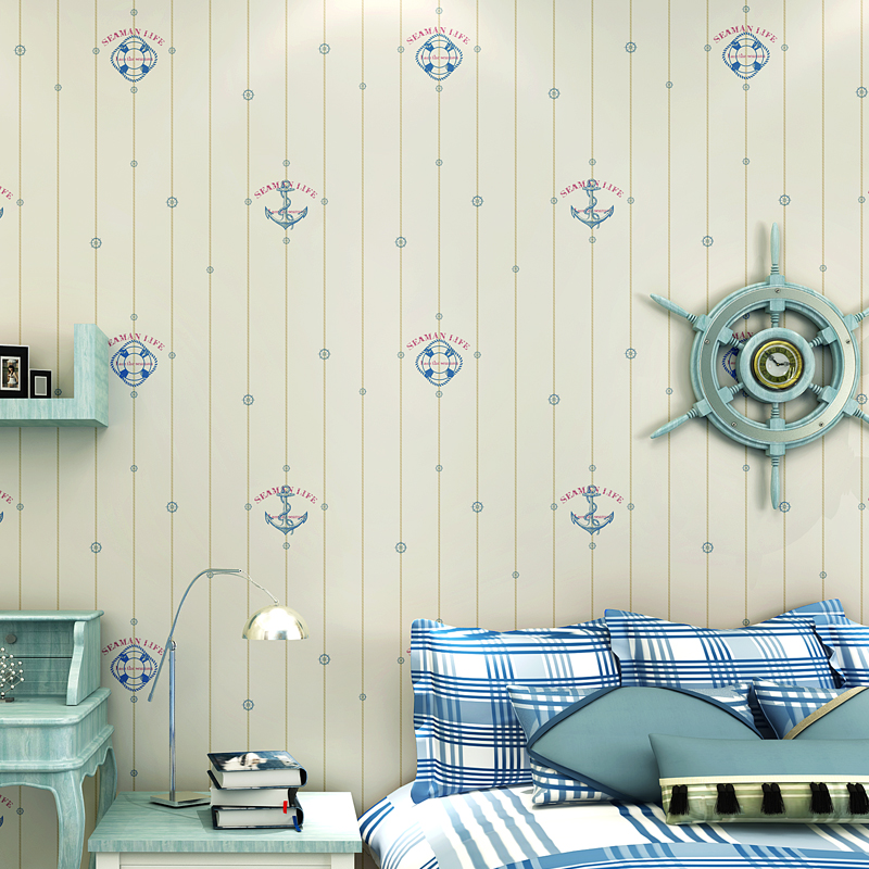 NEW Modern simple Mediterranean wallpaper non-woven pirate sailboat living room bedroom childrens room full of green wallpapers<br>