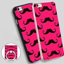 Mustache HD pink  Holder Soft TPU Silicone Phone Case Cover for iPhone 4 4S 5C 5 SE 5S 6 6S 7 Plus