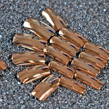Metal Reflective Mirror Champagne Long False Nail Tips Manicure Metalic Plating Punk Style 20PCS Square Fake Nail Art Decoration