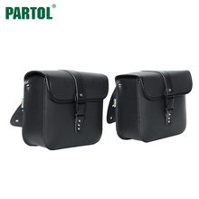 Partol Motorcycle Saddlebags Side Bags PU Leather Tool Bags Black Motorbike Saddle Bag for Honda Suzuki Kawasaki Yamaha KTM(China)