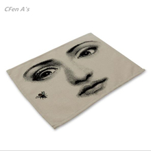 CFen A's Retro Fornasetti Artical Dinner table Cotton Printing Placemat Setting placemats table bowl plate pad coasters mat 1pc(China)