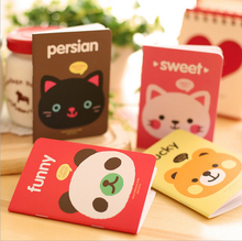 free shipping kawaii stationery cute cartoons animals head cover mini notebook notepad diary pocket exercise book