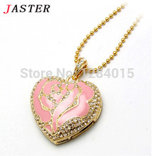 JASTER necklace USB Flash Drive heart shape pendant Pen drive Gift  Jewelry crystal memory stick pendrive 4GB 8GB 16GB 32GB