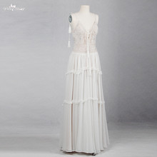 RSW1153 V Neckline Crystal Beaded Beach Bridal Gown Bohemian Style Boho Wedding Dress