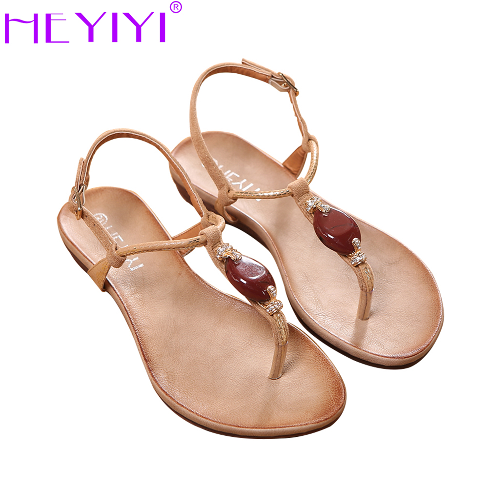 HEYIYI Women Sandals Soft Sole Flat EVA Gladiator Shoes Snake Print Beige Black Resin Stone Decoration Big Size Adjustable strap<br>