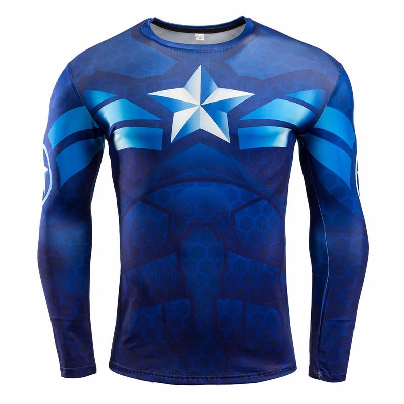Marvel Gyms Clothing Fitness Compression Shirt Men Batman t-shirt men Long Sleeve 3D t shirt men Crossfit Tops tee shirt homme 29