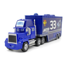 Pixar Cars Movie Cartoon Blue Mack Uncle No.33 Mood Springs Racer's Truck Metal Diecast Truck Combination 1:43 Model Toy for Kid