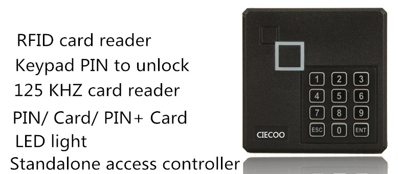 125Khz 12V RFID Reader Cards W/Speaker Keypad Security Entry Metal Door Proximity Smart ID Access Control Card Reader<br>