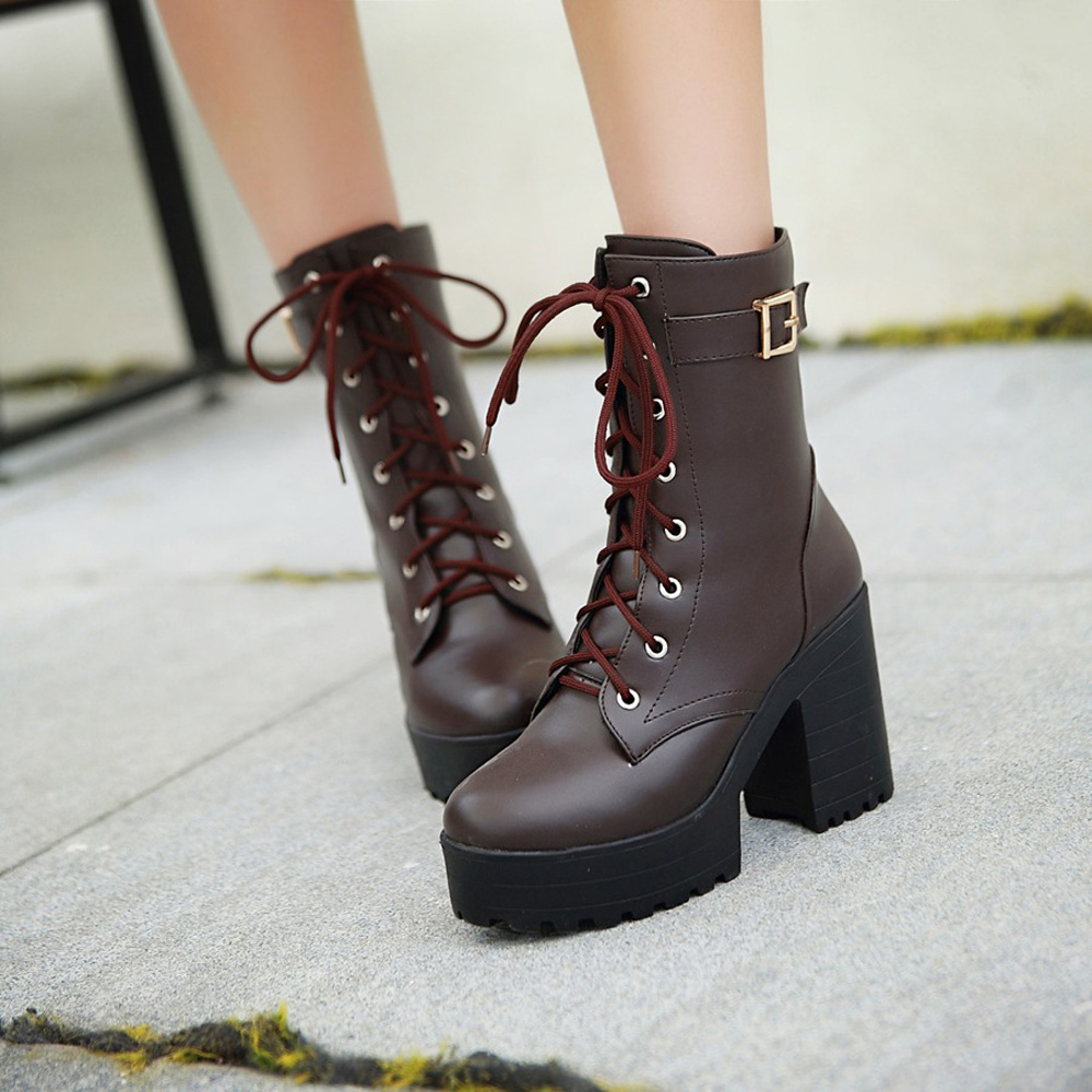 Boots female autumn and winter fashion martin boots high-heeled fashion boots thick heel vintage short boots<br><br>Aliexpress