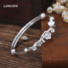 990 silver 2017 New Fashion Design 925 Sterling Silver Cherry Bracelet For Women plum female folk style smooth lovers best Gift