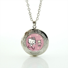 The most popular cartoon character cute cat photo locket necklace handmade jewelry gift for children and kids HH185(China)