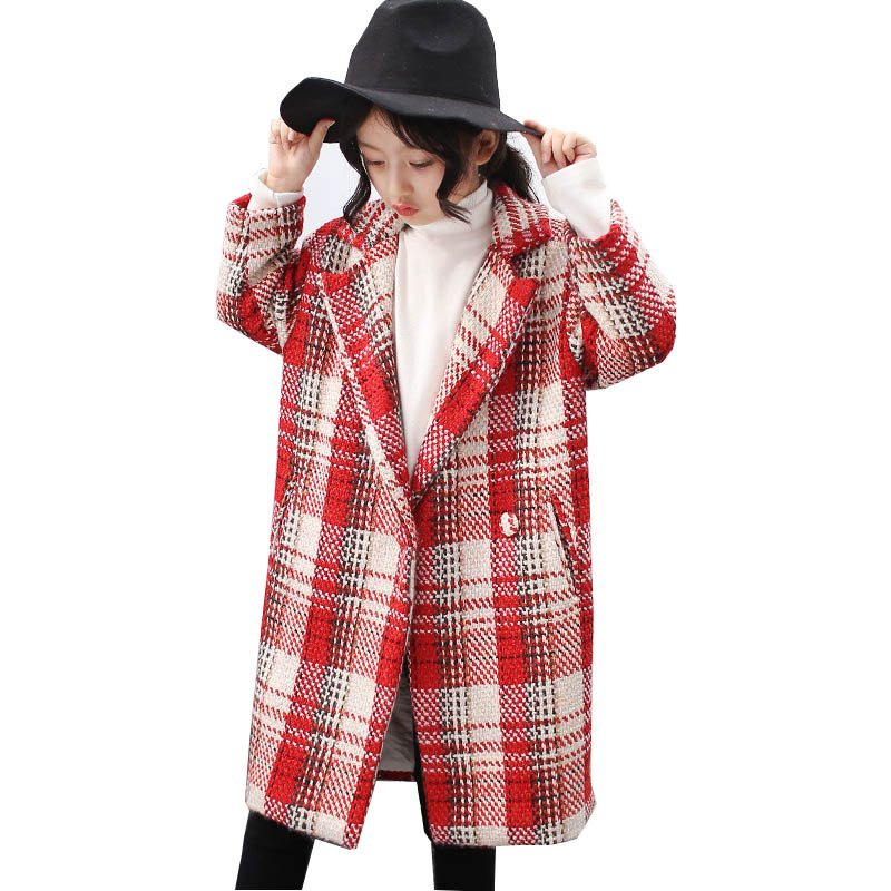 Girls Wool Coats Spring Girls Clothes Fashion Plaid Kids Jackets Children Clothing Overcoat 4-14 years Girls Winter long Coat<br>