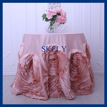 CL052HA  90'' round flower fancy wedding blush pink taffeta cake tablecloths with rose