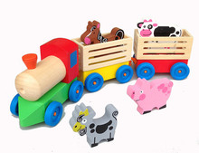 New wooden toy Wooden train for transport farm animals Free shipping