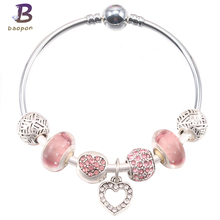 Buy BAOPON New Vintage Silver Plated Love Heart Women Charm Bracelets Blue Crystal Bead Pandora Bracelets & Bangles Jewelry for $3.49 in AliExpress store