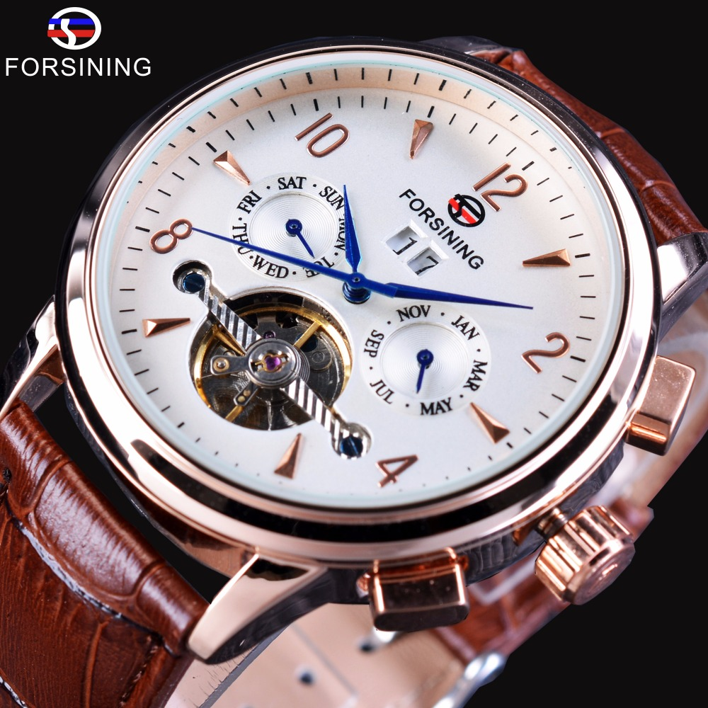 Forsining Blue Hands Brown Leather Strap Rose Golden Case Calendar Tourbillion Display Mens Automatic Watches Top Brand Luxury<br>