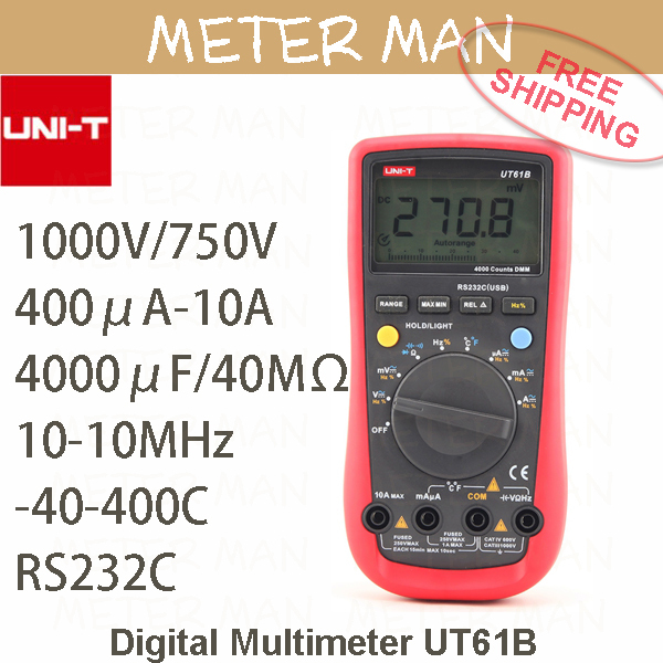 Professional Brand New 3 3/4 Auto Range 4000 Counts  Resistance Capacitance Frequency Temperature RS232 Digital Multimeter UT61B<br><br>Aliexpress