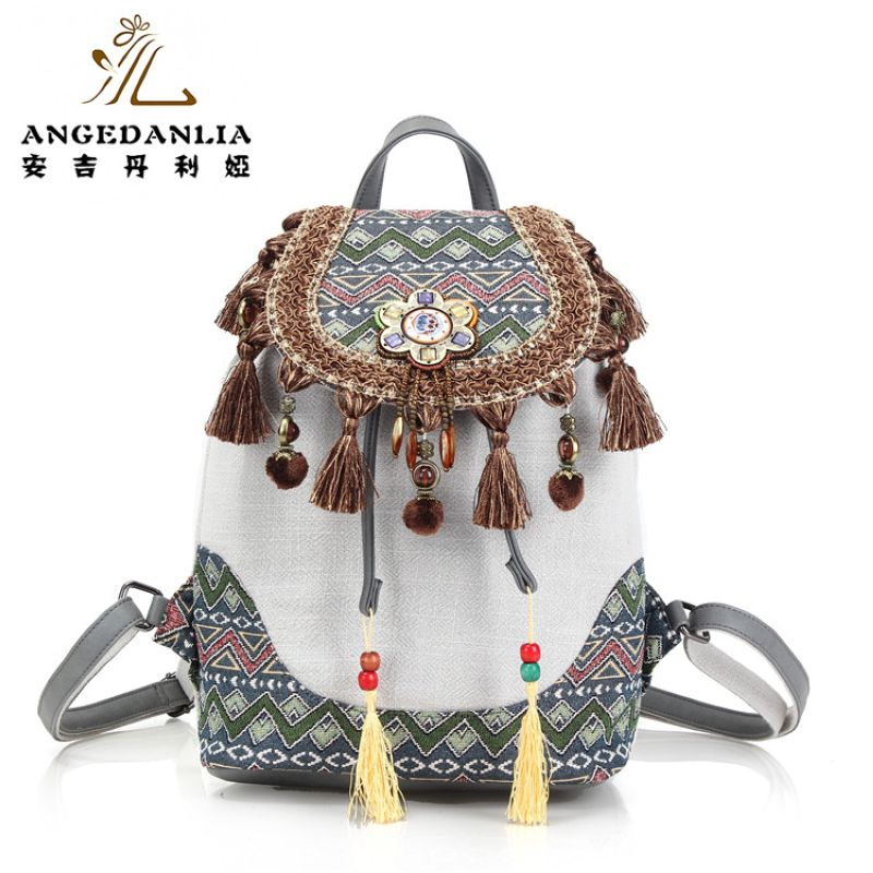 women Bohemian style vintage backpack ladies fancy bags canvas shoulder bag Boho Cotton Fabric Bag national ethnic bags knapsack<br>