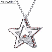 Veamor Christmas Star Pendant Necklaces For Women Pave Crystals Necklace Real 925 Sterling Silver Jewelry Crystal from Swarovski(China)