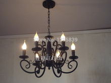 Wrought iron candle chandelier lamp Mediterranean restaurant American Pastoral special lighting lamps bedroom lamps lighting fre(China)