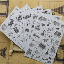 6 pcs/set Famous Building Stamp Sticker World Sightseeing Tours PVC Transparent Sticker Diary Stickers(China)
