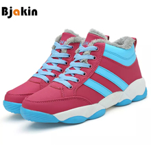 Bjakin New Women Sneakers Winter Plush Running Shoes Female Outdoor Warm PU Snow Sports Boots Jogging Walking Shoes Add Velvet