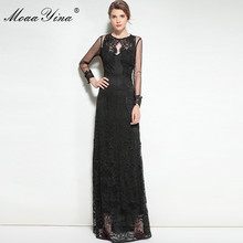 Buy MoaaYina Fashion Designer Runway Dress Spring Women Long sleeve Voile Lace Hollow Retro Sexy Noble Banquet Slim Dress for $60.34 in AliExpress store