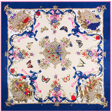 POBING 100% Silk Scarf Women Square Scarves Wraps 2017 New Design Spain Bandana Female Foulard Twill Silk Hijab Lady Bufandas(China)