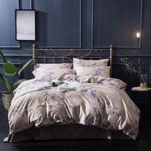 Luxury Egyptian cotton bedding set blue red yellow gold satin duvet cover sets oriental vintage style bed linen bedclothes(China)